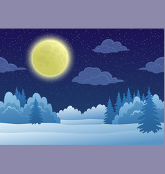 Landscape winter forest vector
