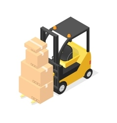 Lift Truck and Cardboard Boxes Isometric View vector image