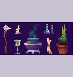 magic or halloween stuff cartoon icons set vector image