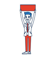 man cartoon holding blank board election vector image