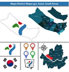 Mapo district seoul city south korea vector