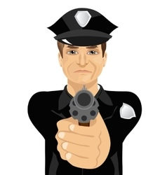 mature policeman holding revolver gun vector image