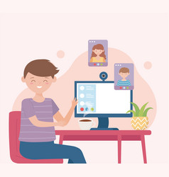 Meeting online man have remote video meeting on vector