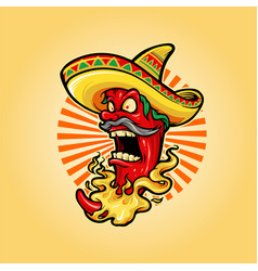 Mexican red hot chili pepper with hat icon mascot vector