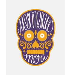 Mexican sugar skull with lettering vector