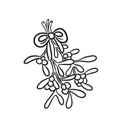 mistletoe hand drawn doodle vector image