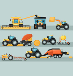 Modern agricultural vehicle isolated set vector