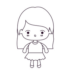 monochrome silhouette of kawaii little girl with vector image