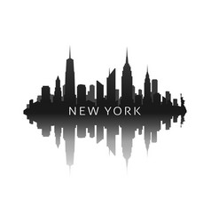 new york skyline in black with reflection vector image