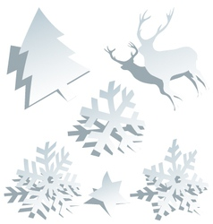 Paper Christmas tree snowflakes and deer vector