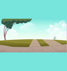 park or city area with paths green lawns and tree vector image