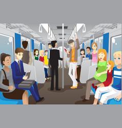 People in subway train vector