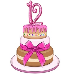 Pink Bat Miztvah Cake For 12th Birthday vector