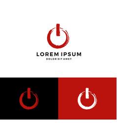 Power symbol brush stroke icon logo download vector