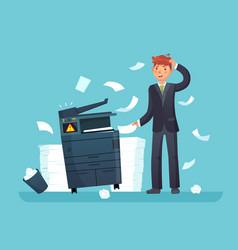 printer broken confused business worker broke vector image
