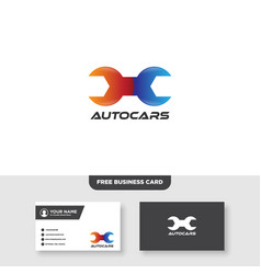 Repair car logo and business card template vector