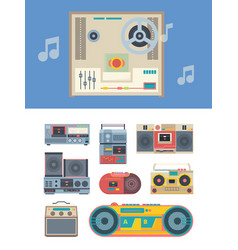 retro recorder portable vintage audio players vector image