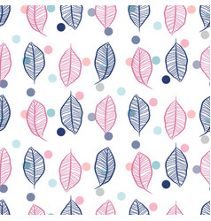 seamless hand drawn leaves and confetti dots vector image