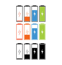 set battery charging icons levels of vector image