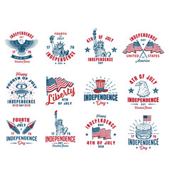 set of 4th july emblem vector image
