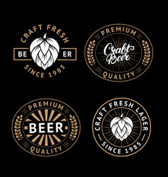 set of beer labels in retro style vintage vector image