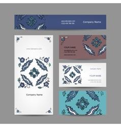 Set of business cards design turkish ornament vector image