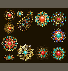 Set of jewelry ethnic brooches vector