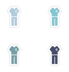Set of paper stickers on white background men vector