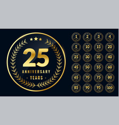 Set rounded anniversary golden labels vector