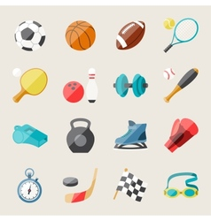 set sport icons in flat design style vector image