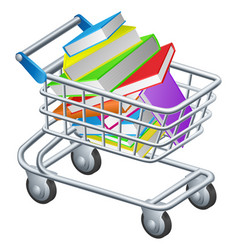 Shopping trolley books vector