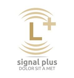 Signal letter l plus brown alphabet wireless vector