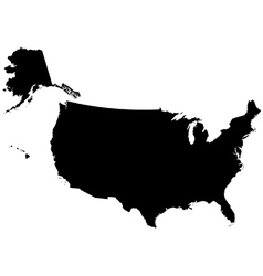 Silhouette map of the United States Of America vector image