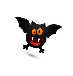 silly and cute halloween bat flying around vector image