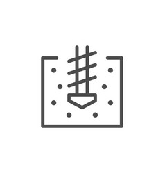 Soil drilling line outline icon vector