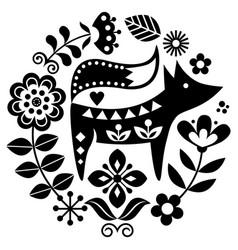 sscandinavian folk art round pattern vector image