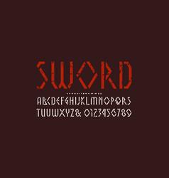 Stencil-plate geometric sans serif font vector