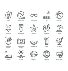 Summer and holidays icons set vector