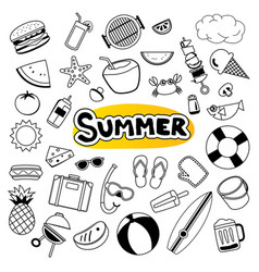 Summer objects set sticker icon in doodle design vector