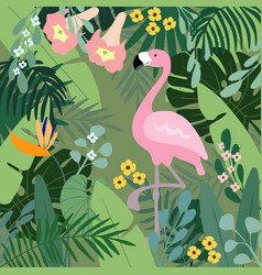 Summer tropical background flamingo bird with vector