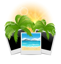 Summertime background with set photo frames vector
