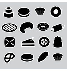 sweet desserts black stickers eps10 vector image