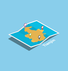 tianjin explore maps with isometric style and pin vector image