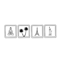 Traveling symbols for beach vacation paris and vector