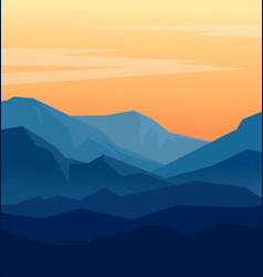 Twilight in blue mountains vector