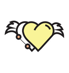 Two hearts wings pen tool design yellow vector