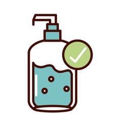 Using antibacterial prevent spread covid19 line vector