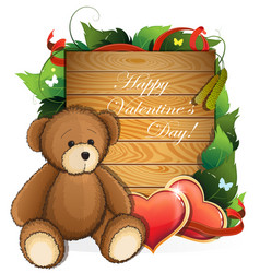 valentine teddy bear with hearts and foliage vector image