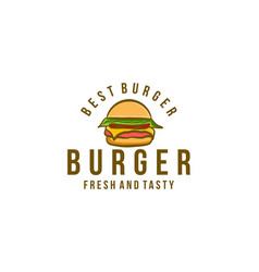 vintage burger logo inspiration isolated on white vector image