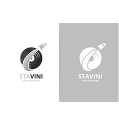 vinyl and rocket logo combination record vector image